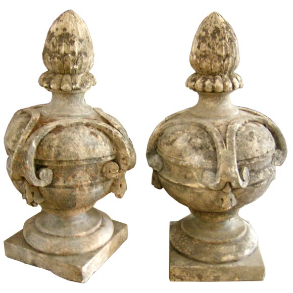 Italian 19th C Pair of Stone Garden Finials at 1stdibs