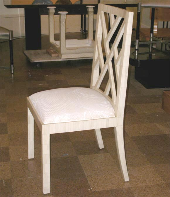 Pair Bone Inlay Side Chairs Attributed to Karl Springer at