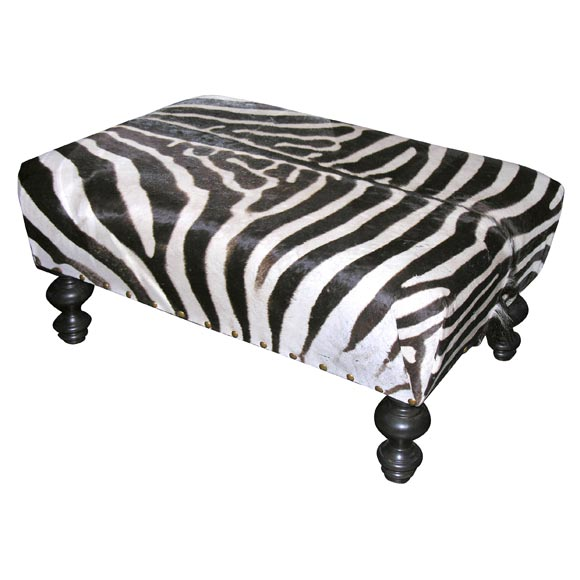 Custom Zebra Skin Ottoman At 1stdibs