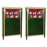 Pair of green lacquer Cabinets By Batistin Spade