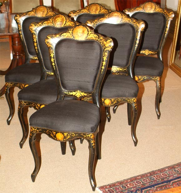 6 italian lacquer and gilt chairs at 1stdibs