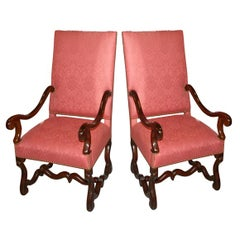 Pair of Louis XIII Fauteuils Armchairs of the 18th Century French