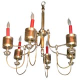 Silver-plated six-arm chandelier
