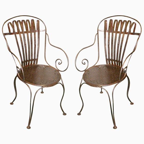 Pair Of Vintage French Steel Bistro Chairs At 1stdibs