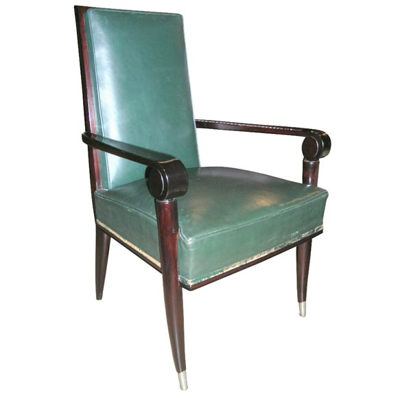 Set Of 8 Mahogany And Green Leather Dining Chairs By