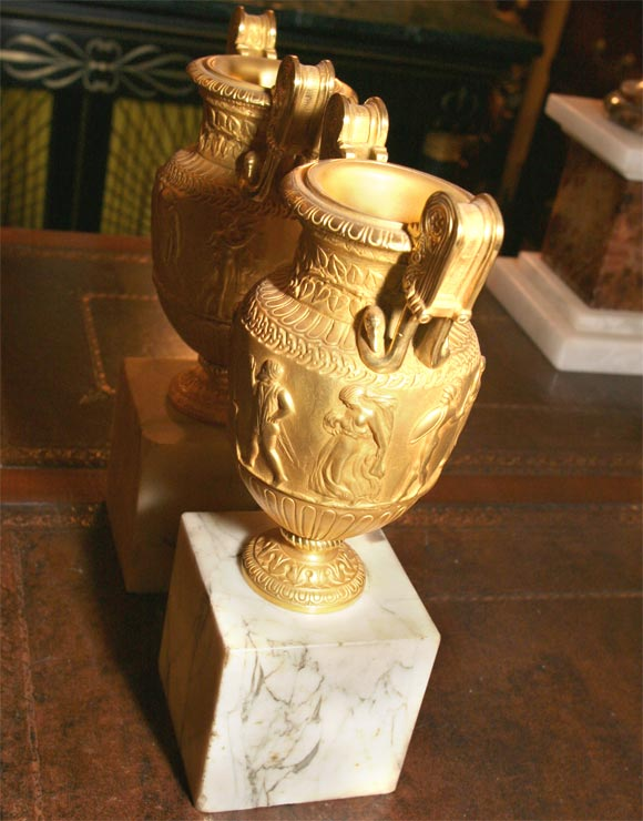 French Pair of Gilt Bronze Grand Tour Urns on Marble Bases For Sale