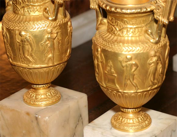 19th Century Pair of Gilt Bronze Grand Tour Urns on Marble Bases For Sale