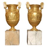 Pair of Gilt Bronze Grand Tour Urns on Marble Bases
