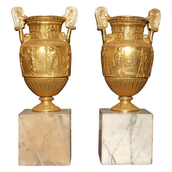 Pair of Gilt Bronze Grand Tour Urns on Marble Bases For Sale
