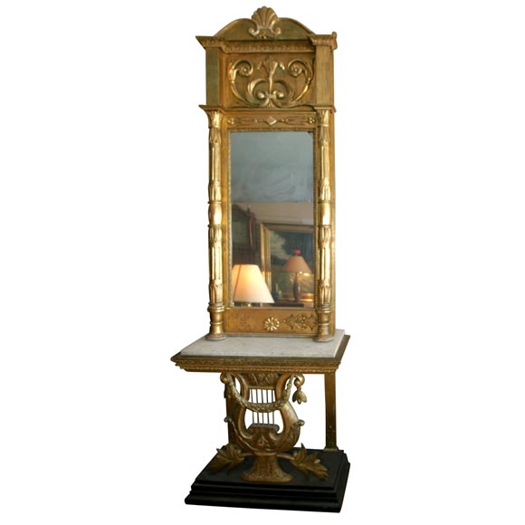 Gustavian Mirror and Console