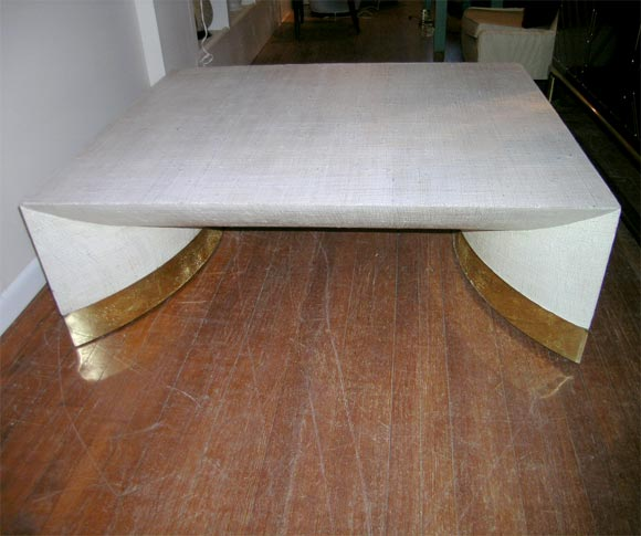 Large Grass Cloth Coffee Table By Karl Springer At 1stdibs