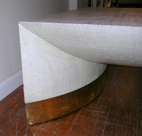 this large grass cloth coffee table by karl springer is no longer