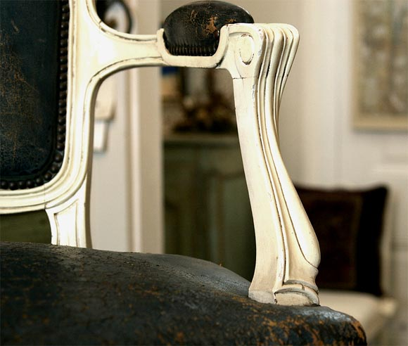 Leather Louis XV Style Fauteuils, Set of Four For Sale
