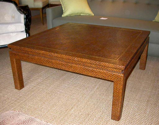 1348 glazed raffia cocktail table c 1970 at 1stdibs for Raffia coffee table