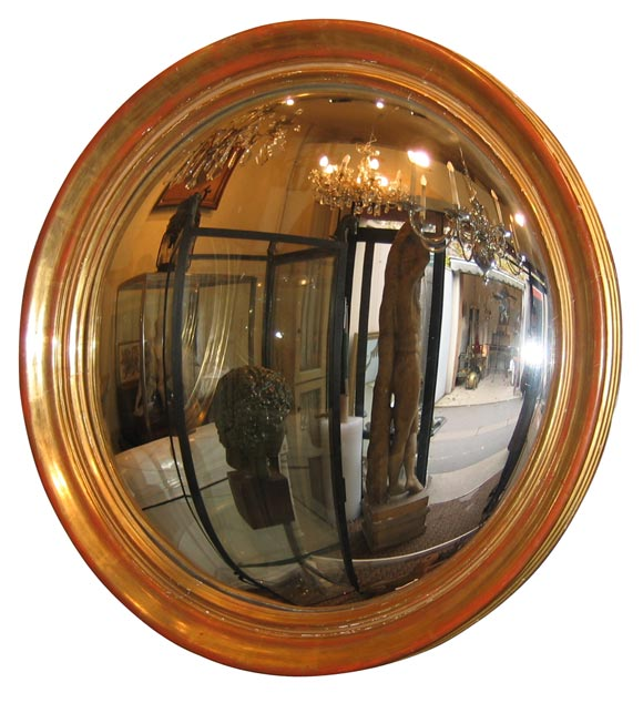 large round convex mirror with gilt wood frame at 1stdibs