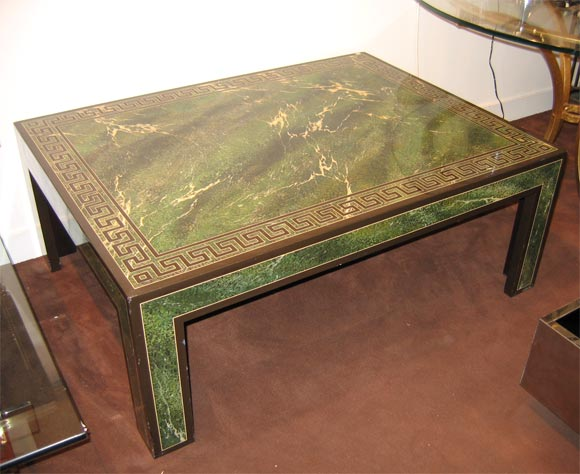 Coffee Table In Faux Marble Green Lacquer At 1stdibs