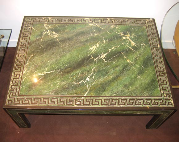 Coffee Table in Faux Marble Green Lacquer 3