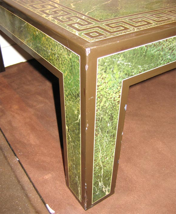 Coffee Table in Faux Marble Green Lacquer 4