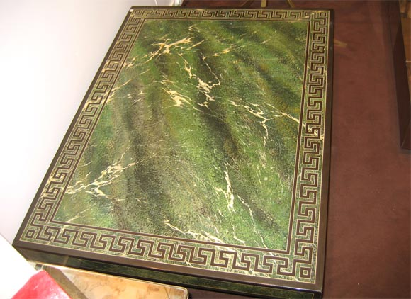 Coffee Table in Faux Marble Green Lacquer 5