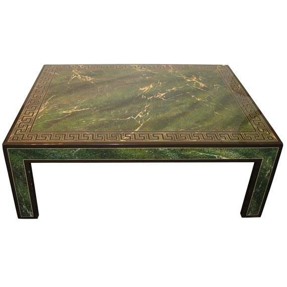 Coffee Table In Faux Marble Green Lacquer For Sale At 1stdibs