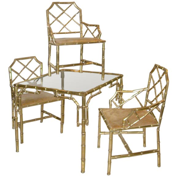 Italian 1950 39 s brass table and chairs at 1stdibs - Italian dining table sets ...