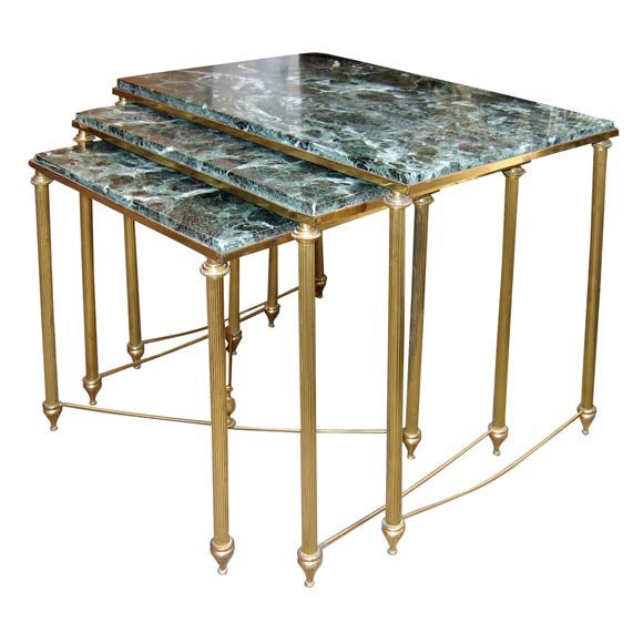 Three Nesting Marble And Gilt Brass Coffee Tables At 1stdibs