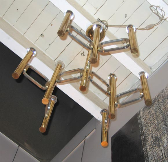 Italian Brass Chandelier with Nine Arms In Good Condition For Sale In Charleston, SC