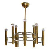 Italian Brass Chandelier with Nine Arms