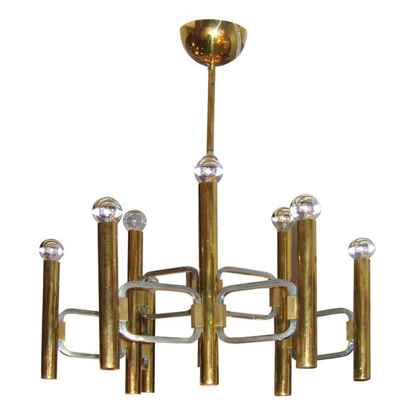 Italian Brass Chandelier with Nine Arms For Sale
