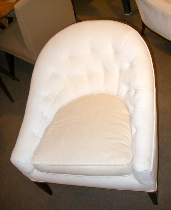 Pair Of Button Tufted Round Back Lounge Chairs At 1stdibs