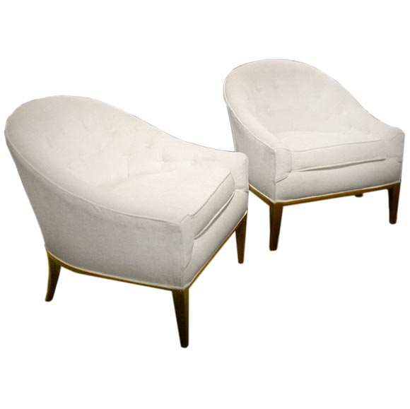 Pair Of Button Tufted Round Back Lounge Chairs For Sale