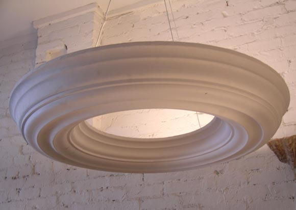 Two Large, Dramatic French Modern Neoclassical Plaster Chandeliers / Pendants In Good Condition For Sale In New York, NY