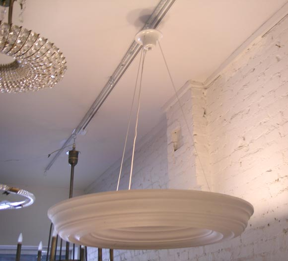 Mid-Century Modern Two Large, Dramatic French Modern Neoclassical Plaster Chandeliers / Pendants For Sale