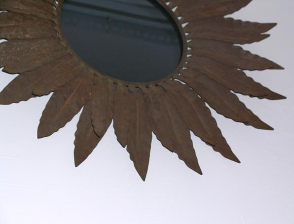 Mid-Century Modern Two Wrought Iron Sunburst Mirrors For Sale