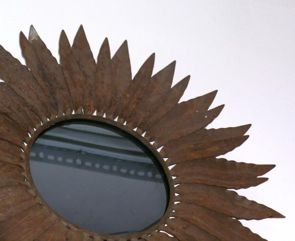 French Two Wrought Iron Sunburst Mirrors For Sale