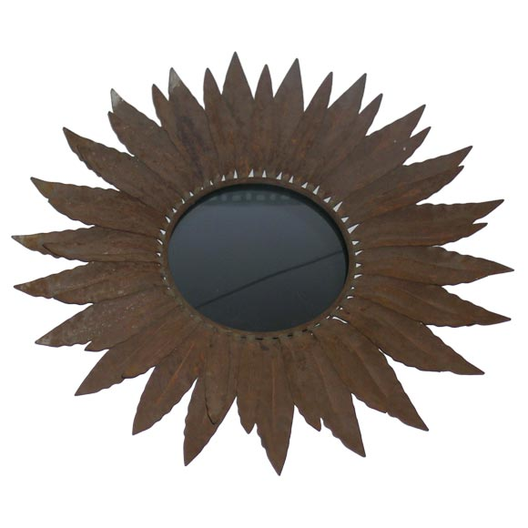 Two Wrought Iron Sunburst Mirrors For Sale