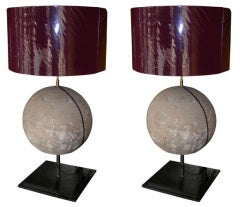Two Lamps with Stone Sphere