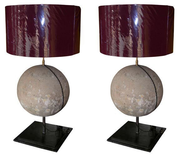 Two Lamps with Stone Sphere For Sale