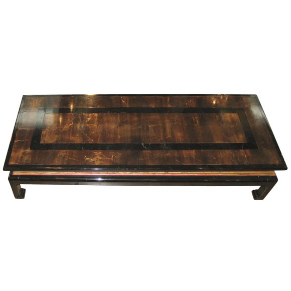 Black Lacquer And Gold Coffee Table At 1stdibs