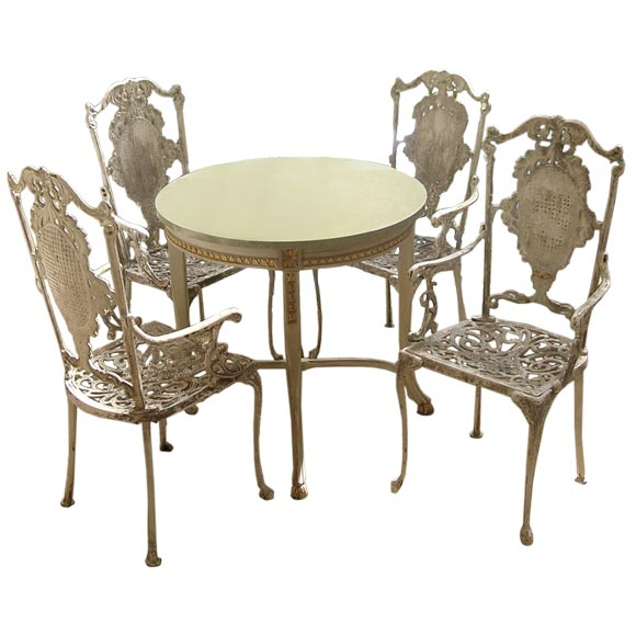 Set of four french cast iron garden chairs at 1stdibs French metal garden furniture
