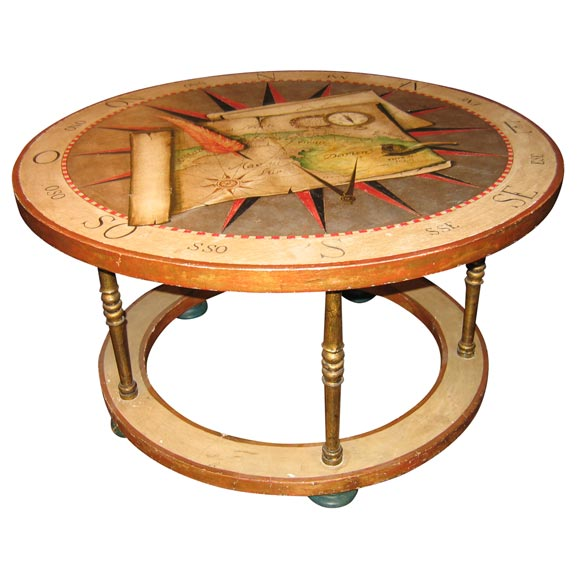 Round Coffee Table With Painted Still Life Of Maps And Compass At 1stdibs
