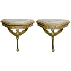 Pair of Giltwood and Painted Console Tables