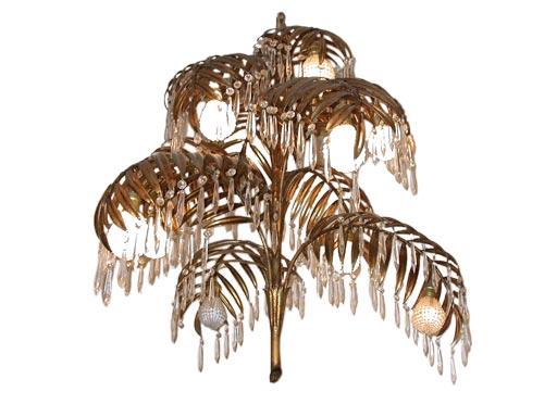 Gilt metal palm chandelier