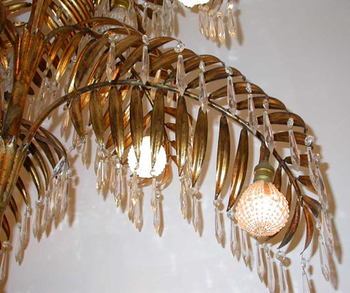 American Gilt metal palm chandelier