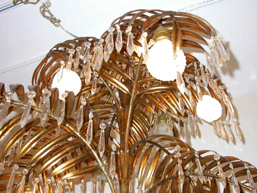 Mid-20th Century Gilt metal palm chandelier