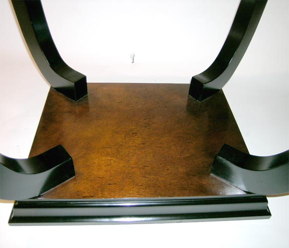 Ebonized and dark wood stained French, 1930s or 1940s side table with pullout extension brackets on each end. Leaves can be made.
