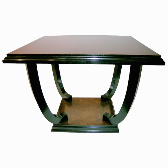 French, 1940s Side Table with Ebonized Legs and Base