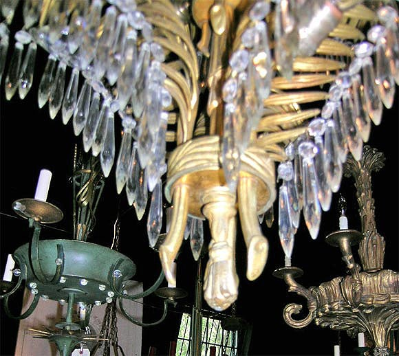 French Bronze Palm Chandelier by Bagues In Excellent Condition For Sale In Stamford, CT
