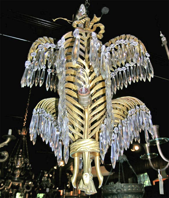 French Bronze Palm Chandelier by Bagues For Sale 1