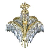 French Bronze Palm Chandelier by Bagues